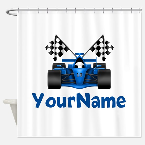 Race Car Personalized Shower Curtain