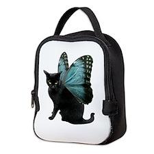 Black Cat Butterfly c Neoprene Lunch Bag