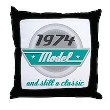1974 Birthday Vintage Chrome Throw Pillow