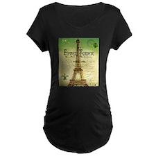 VINTAGE TRAVEL Eiffel Tower Maternity T-Shirt