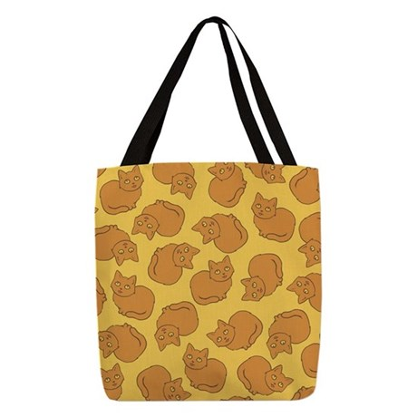 Cute Orange Cat Pattern Polyester Tote Bag