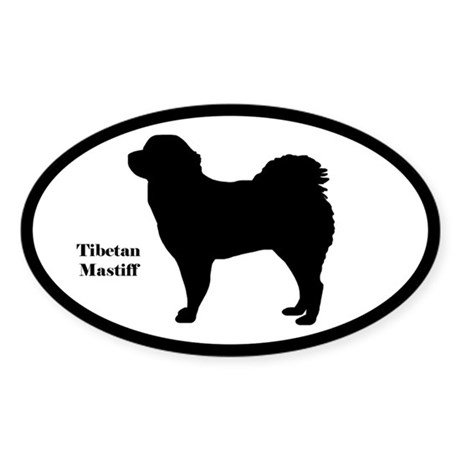 Tibetan Mastiff Silhouette Oval Sticker