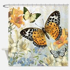 MODERN VINTAGE french butterfly Shower Curtain