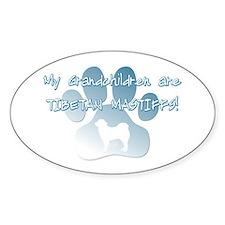 Tibetan Mastiff Grandchildren Oval Decal