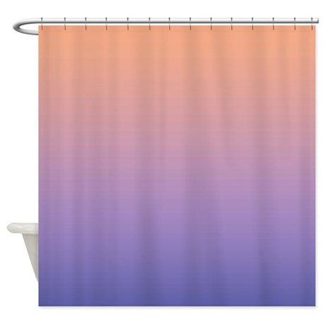 peach and blue shower curtain by coppercreekdesignstudio