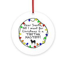 Dear Santa Tibetan Mastiff Christmas Ornament