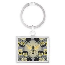 MODERN VINTAGE french pansies and bee Keychains