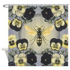 MODERN VINTAGE french pansies and bee Shower Curta