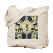 MODERN VINTAGE french pansies and bee Tote Bag