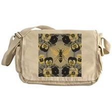 MODERN VINTAGE french pansies and bee Messenger Ba