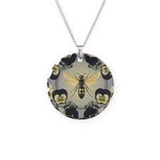 MODERN VINTAGE french pansies and bee Necklace