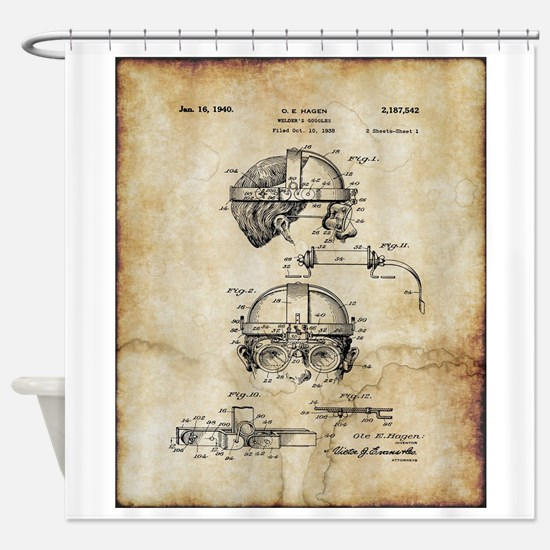 1940 Welders Goggles - Patent Shower Curtain