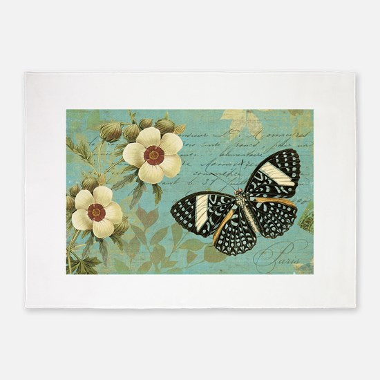 Modern vintage french butterfly postcard 5'x7'Area