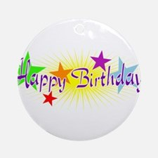 Happy Birthday with Stars Ornament (Round)