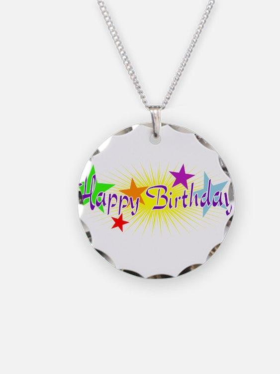 Happy Birthday with Stars Necklace