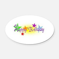 Happy Birthday with Stars Oval Car Magnet