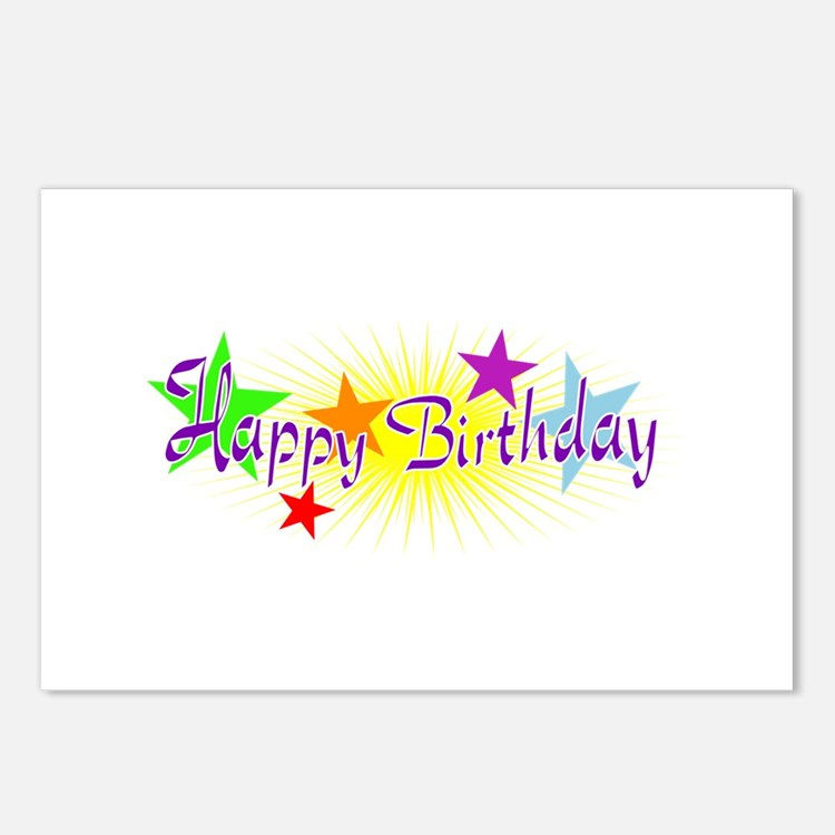 Happy Birthday with Stars Postcards (Package of 8)