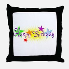 Happy Birthday with Stars Throw Pillow