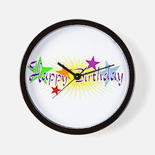 Happy Birthday with Stars Wall Clock