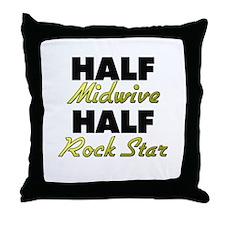 Half Midwive Half Rock Star Throw Pillow