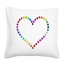 Rainbow Heart Square Canvas Pillow