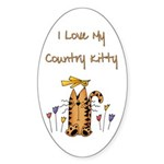 I Love My Country Kitty Oval Sticker