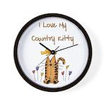 I Love My Country Kitty Wall Clock