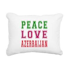 Peace Love Azerbaijan Rectangular Canvas Pillow
