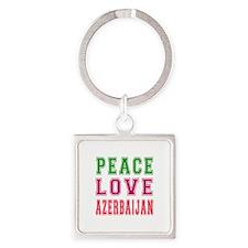 Peace Love Azerbaijan Square Keychain