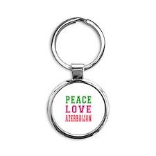 Peace Love Azerbaijan Round Keychain