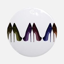 Pretty Shoes All In A Row Ornament (Round)