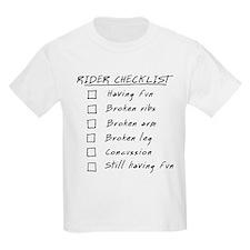 Biker Checklist: having fun. Kids T-Shirt