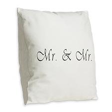 Mr. & Mr. - Gay Marriage Burlap Throw Pillow
