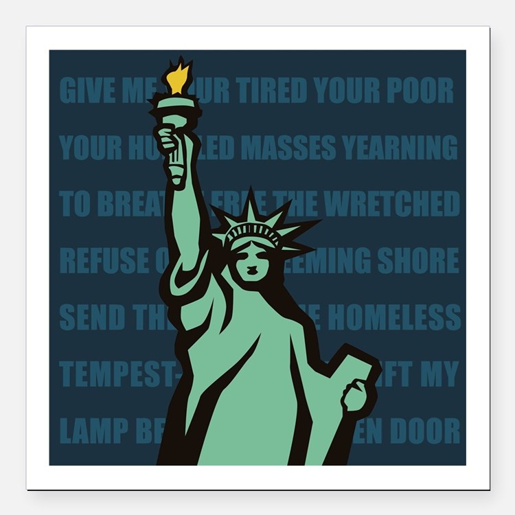 """Words of Liberty Square Car Magnet 3"""" x 3"""""""