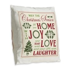 Vintage Christmas word collage Burlap Throw Pillow