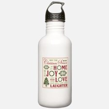 Vintage Christmas word collage Water Bottle