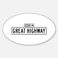 Great Highway, San Francisco - USA Oval Decal