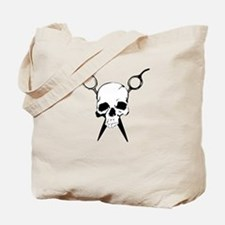 Hair Stylist Skull and Shears Crossbones Tote Bag