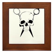 Hair Stylist Skull and Shears Crossbones Framed Ti