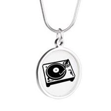 Turntable DJ Silver Round Necklace