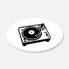 Turntable DJ Oval Car Magnet
