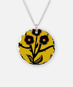 Tree with flowers Necklace Circle Charm