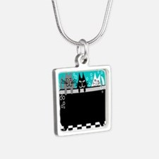 Whimsical Cat Art Silver Square Necklace