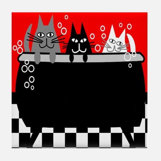 Whimsical Cat Art Tile Coaster