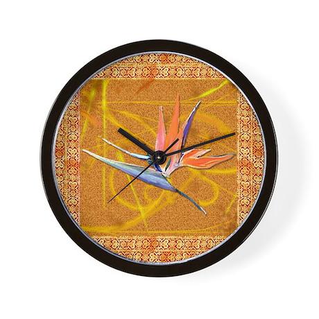 Gold Bird of Paradise Wall Clock