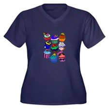 Cute Cupcake tattoo Women's Plus Size V-Neck Dark T-Shirt