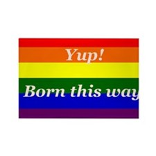 Gay Rainbow flag Yup Born This Way Rectangle Magne