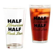 Half Librarian Half Rock Star Drinking Glass