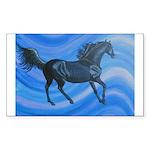 black horse on blue Sticker