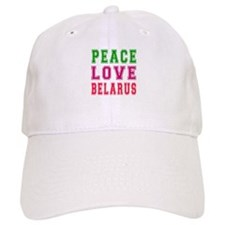 Peace Love Belarus Baseball Cap